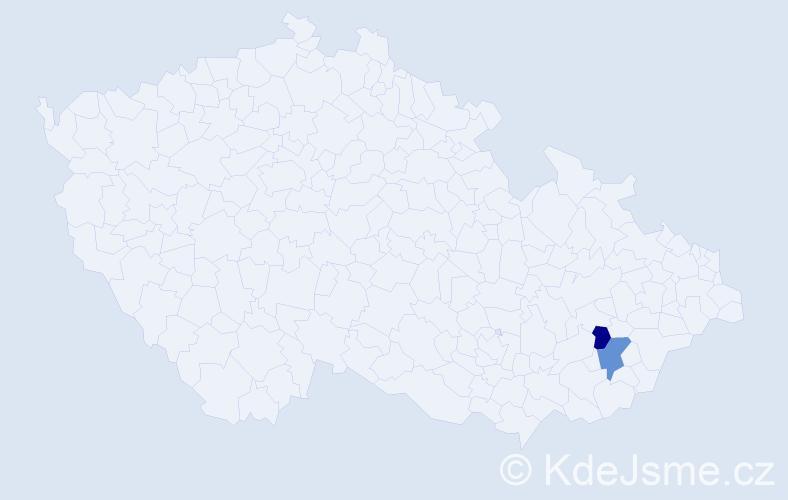 Příjmení: 'Čuřilla', počet výskytů 5 v celé ČR