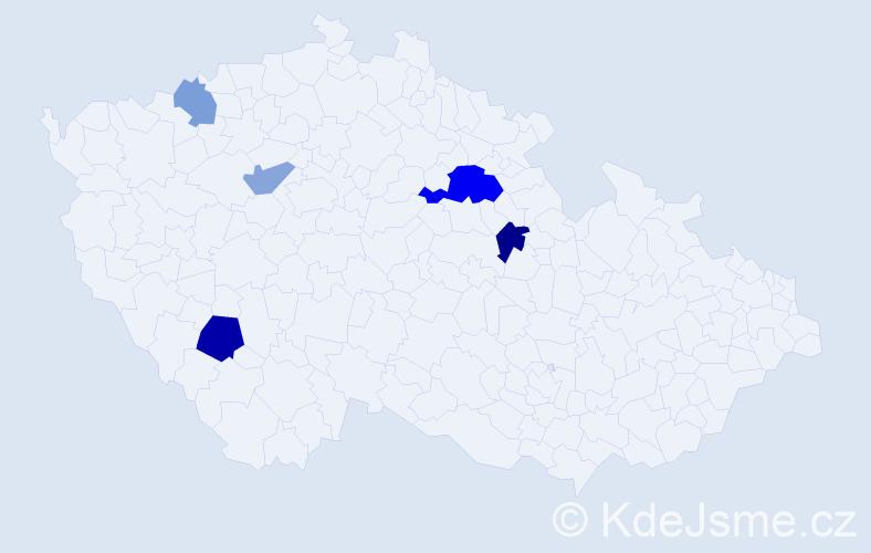 Příjmení: 'Boguschová', počet výskytů 19 v celé ČR