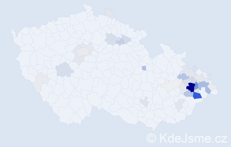 Příjmení: 'Číp', počet výskytů 191 v celé ČR