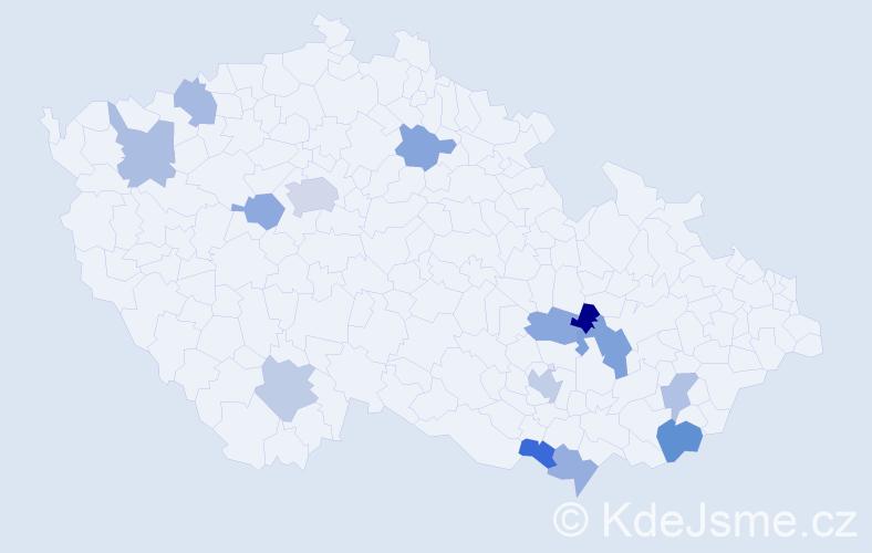 Příjmení: 'Iván', počet výskytů 20 v celé ČR
