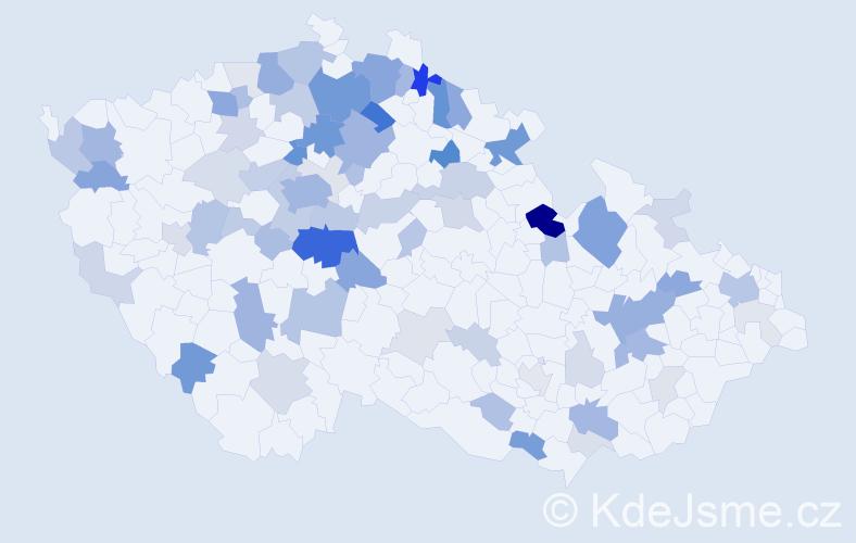 Příjmení: 'Bergmannová', počet výskytů 221 v celé ČR