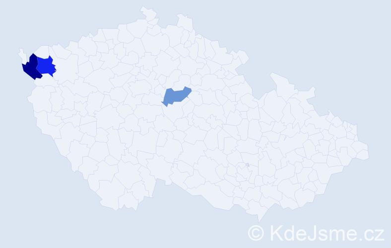 Příjmení: 'Kinderová', počet výskytů 5 v celé ČR