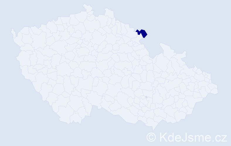 """Příjmení: '""""Done Matoušová""""', počet výskytů 1 v celé ČR"""