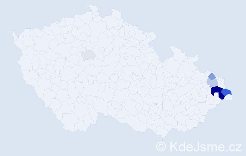 Příjmení: 'Hlaušková', počet výskytů 16 v celé ČR