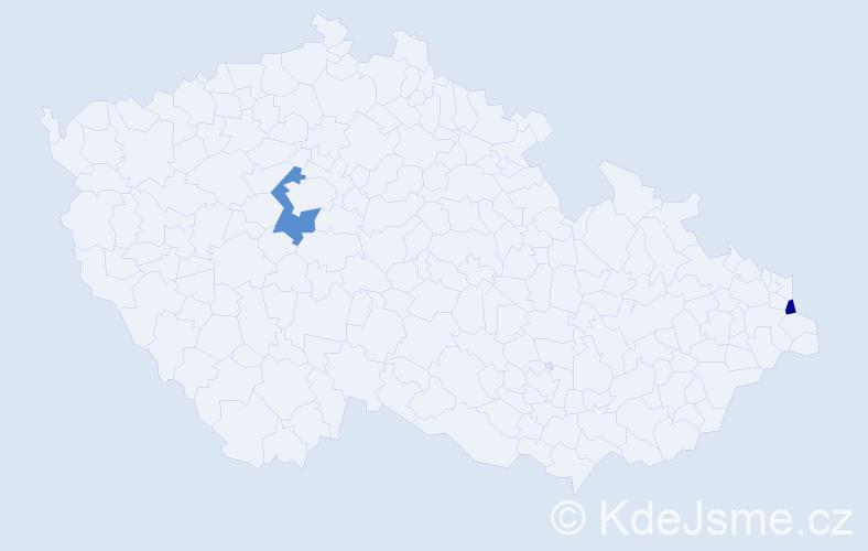 Příjmení: 'Geilerová', počet výskytů 5 v celé ČR