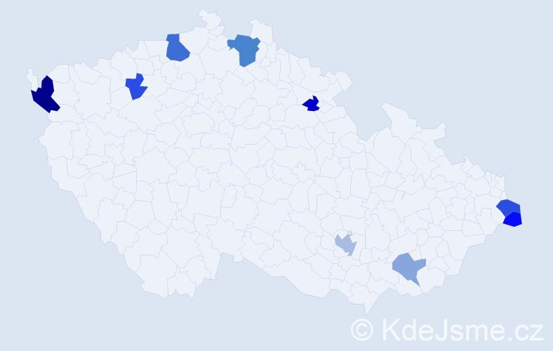 Příjmení: 'Dam', počet výskytů 17 v celé ČR