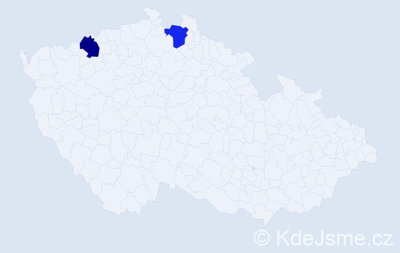 Příjmení: 'Čekonová', počet výskytů 2 v celé ČR