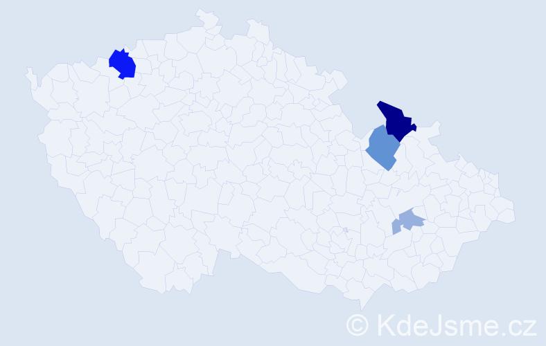Příjmení: 'Chlebaňa', počet výskytů 10 v celé ČR