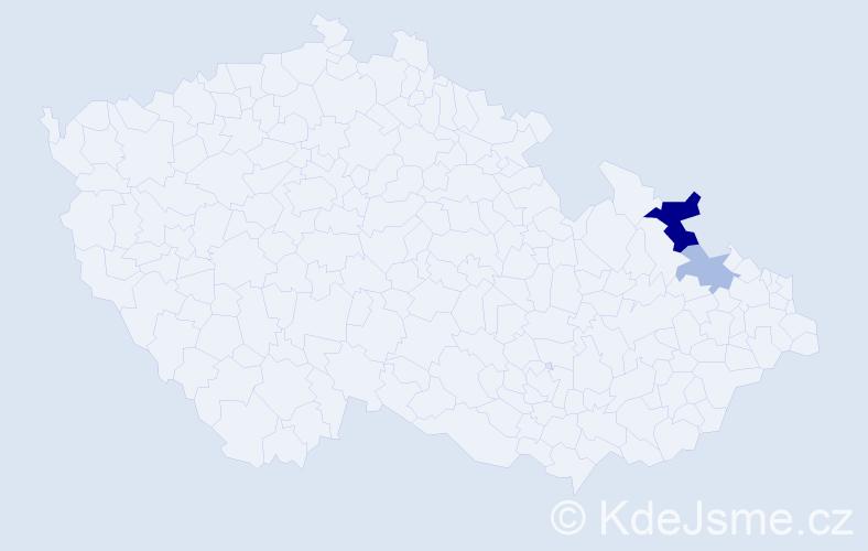 Příjmení: 'Čandasová', počet výskytů 9 v celé ČR