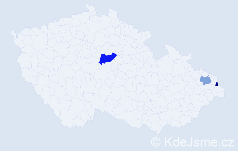 Příjmení: 'Baričič', počet výskytů 5 v celé ČR