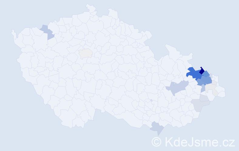 Příjmení: 'Hlubková', počet výskytů 114 v celé ČR