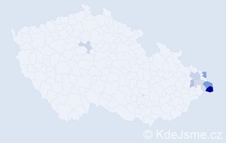 Příjmení: 'Cieluch', počet výskytů 16 v celé ČR