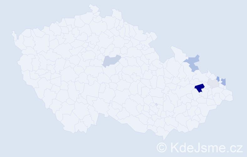Příjmení: 'Čopjak', počet výskytů 9 v celé ČR