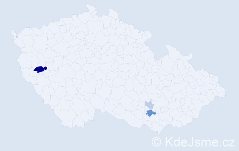 Příjmení: 'Dania', počet výskytů 5 v celé ČR