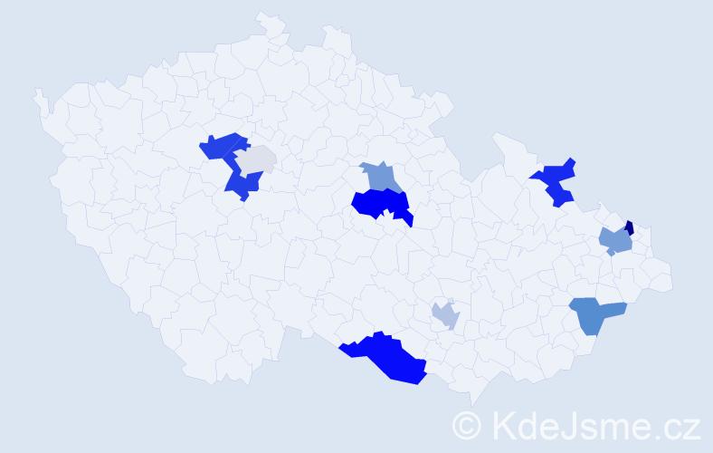 Příjmení: 'Hnidka', počet výskytů 16 v celé ČR