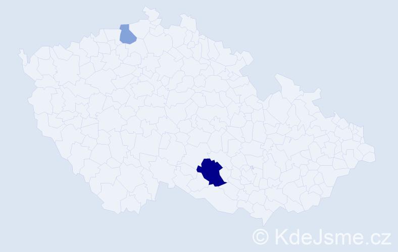 Příjmení: 'Čmelka', počet výskytů 4 v celé ČR