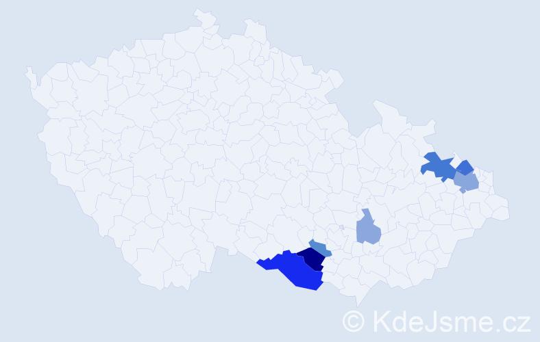 Příjmení: 'Ferik', počet výskytů 19 v celé ČR