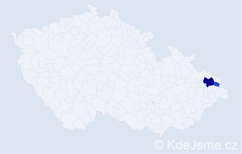 Příjmení: 'Dadamová', počet výskytů 5 v celé ČR