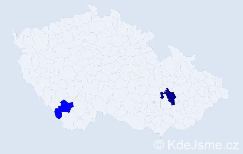 Příjmení: 'Kamenovová', počet výskytů 4 v celé ČR