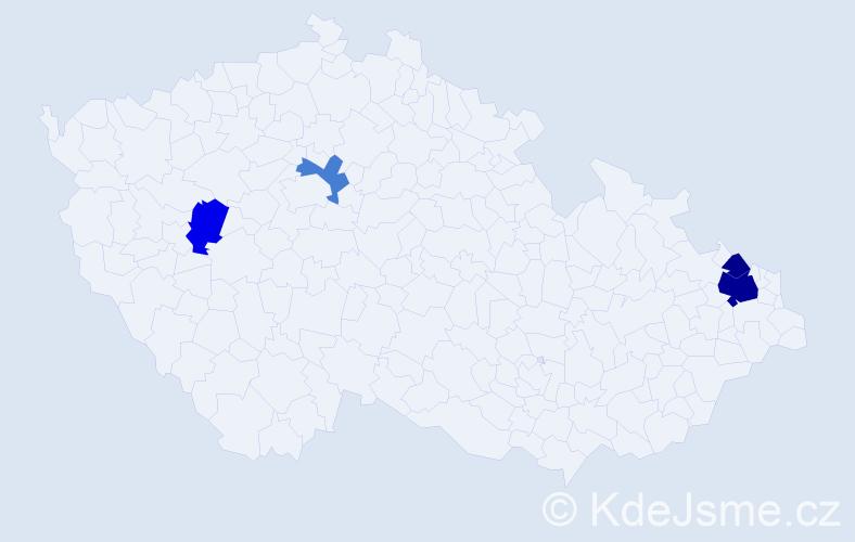 Příjmení: 'Jajcajová', počet výskytů 8 v celé ČR