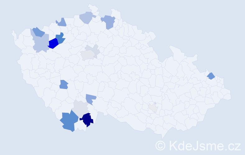 Příjmení: 'Antoniová', počet výskytů 38 v celé ČR