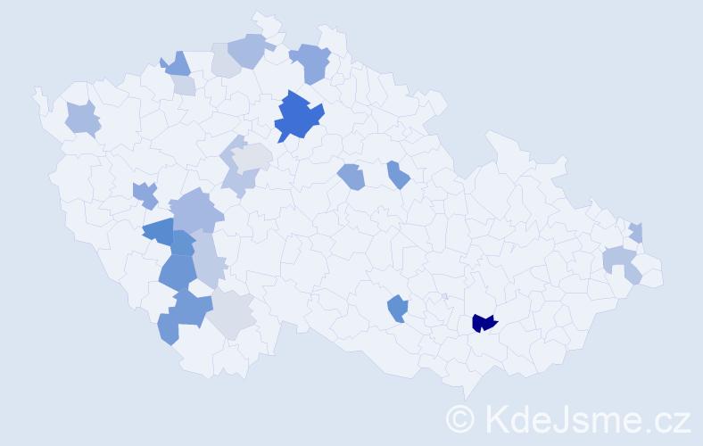 Příjmení: 'Kabátníková', počet výskytů 54 v celé ČR