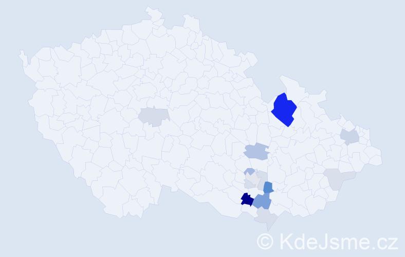 Příjmení: 'Doné', počet výskytů 39 v celé ČR