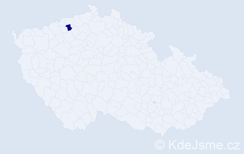 """Příjmení: '""""Chapman Marišlerová""""', počet výskytů 1 v celé ČR"""