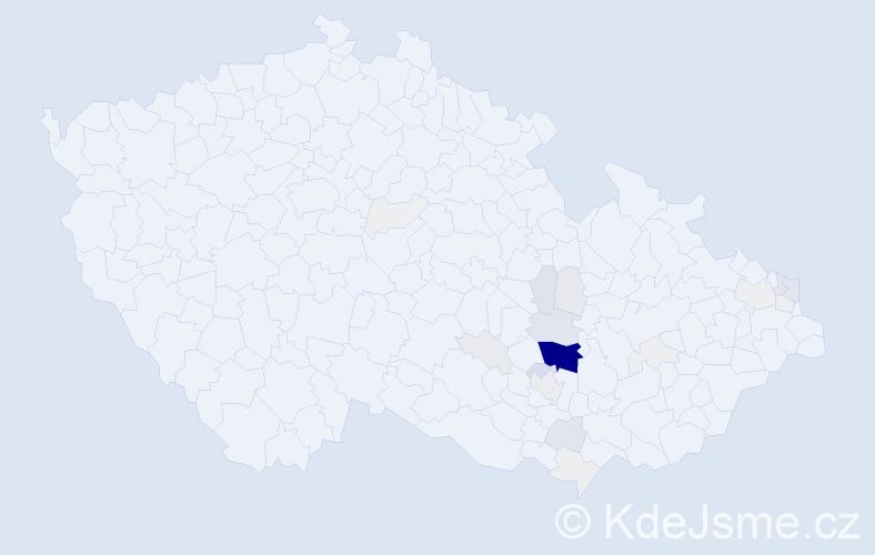 Příjmení: 'Kakáč', počet výskytů 124 v celé ČR