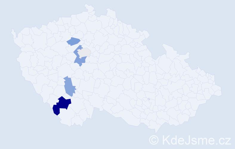 Příjmení: 'Kaňovová', počet výskytů 8 v celé ČR