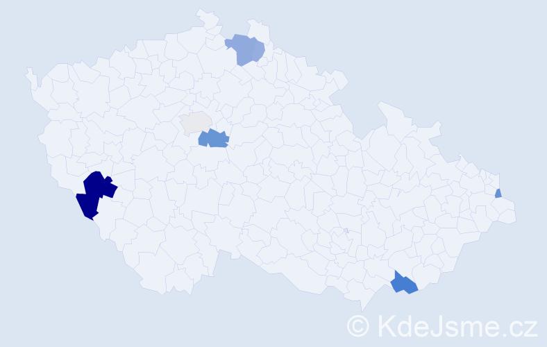 Příjmení: 'Cerina', počet výskytů 14 v celé ČR