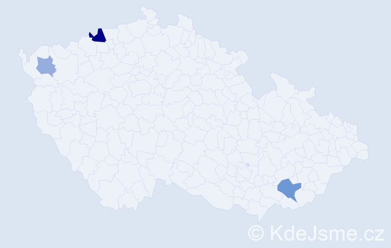 Příjmení: 'Anjel', počet výskytů 6 v celé ČR