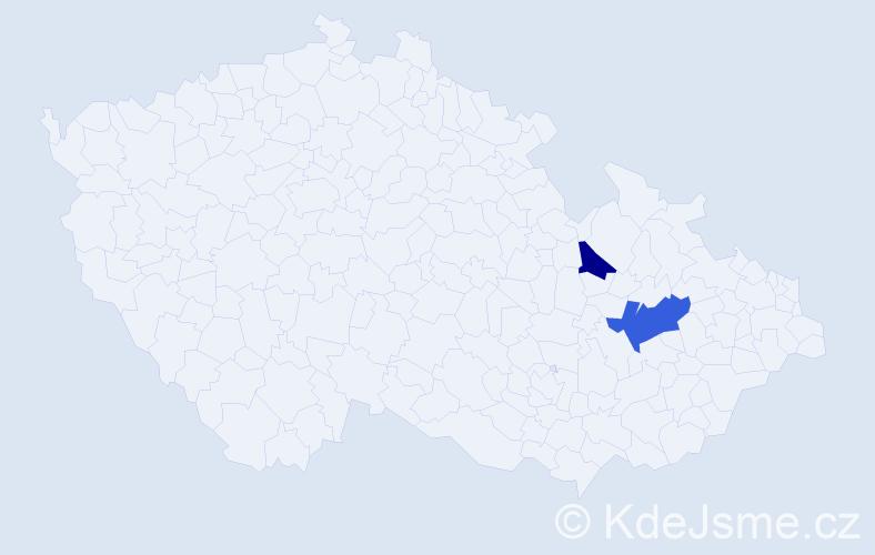 Příjmení: 'Hiper', počet výskytů 3 v celé ČR