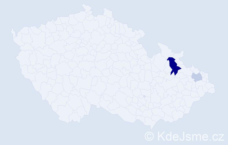 Příjmení: 'Danosová', počet výskytů 9 v celé ČR