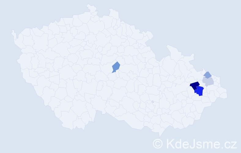 Příjmení: 'Klosek', počet výskytů 10 v celé ČR