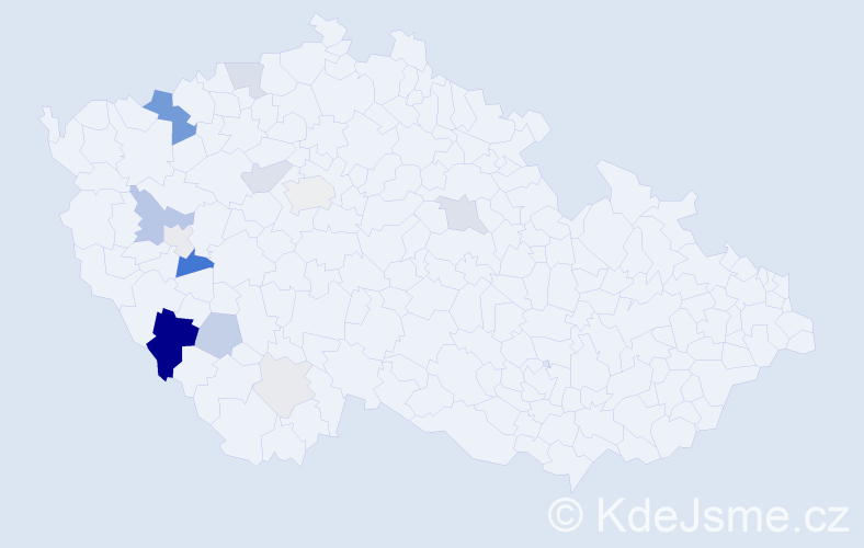 Příjmení: 'Hammerbauer', počet výskytů 38 v celé ČR