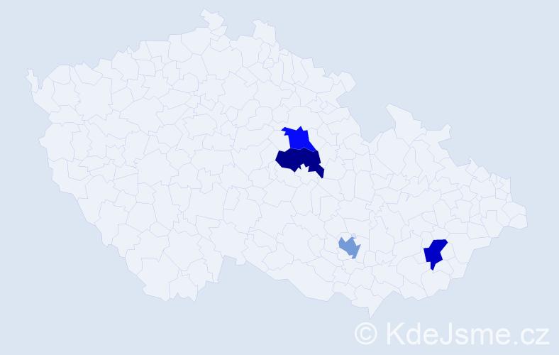 Příjmení: 'Derbeková', počet výskytů 4 v celé ČR