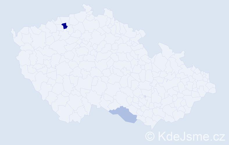 """Příjmení: '""""Gondek-Jedináková""""', počet výskytů 3 v celé ČR"""