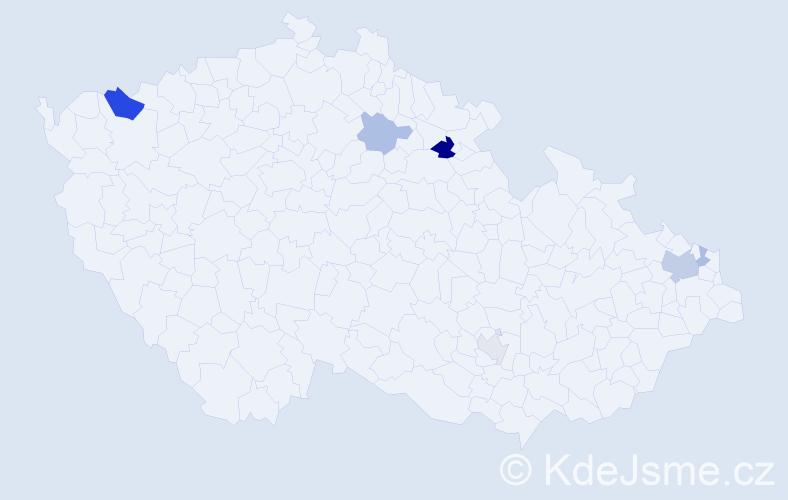 Příjmení: 'Daxnerová', počet výskytů 12 v celé ČR