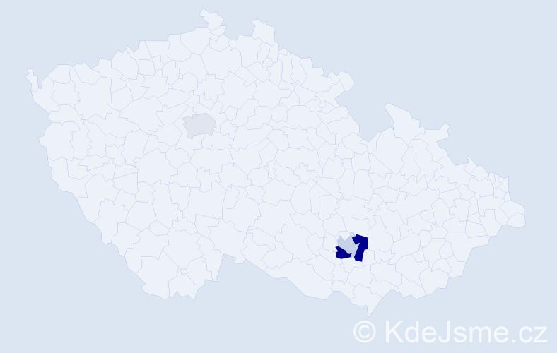 Příjmení: 'Gédrová', počet výskytů 5 v celé ČR