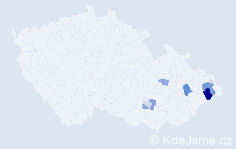 Příjmení: 'Čaganová', počet výskytů 22 v celé ČR