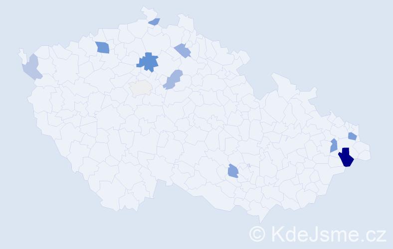 Příjmení: 'Fupšo', počet výskytů 23 v celé ČR