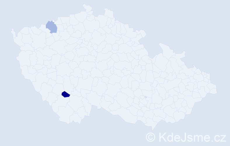 Příjmení: 'Frenák', počet výskytů 2 v celé ČR