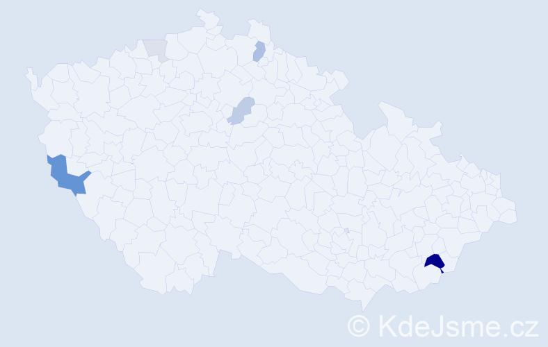 Příjmení: 'Jakubčák', počet výskytů 13 v celé ČR