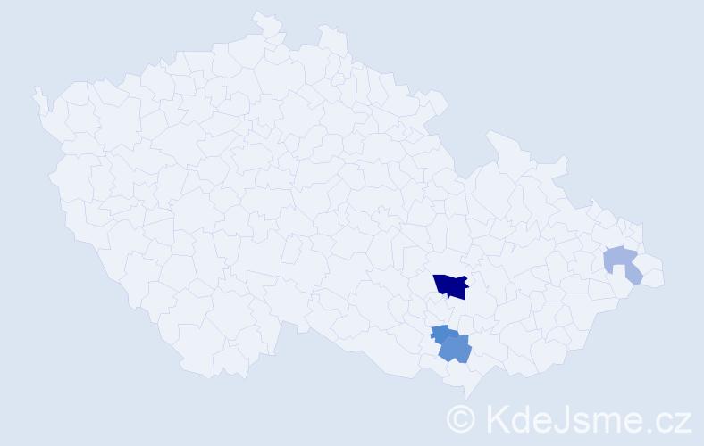 Příjmení: 'Aleksa', počet výskytů 7 v celé ČR