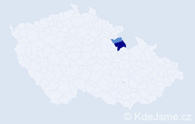 Příjmení: 'Derunov', počet výskytů 5 v celé ČR