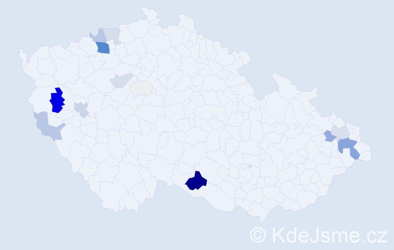 Příjmení: 'Danicsová', počet výskytů 29 v celé ČR