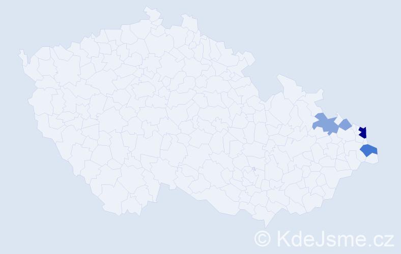 Příjmení: 'Godziková', počet výskytů 13 v celé ČR