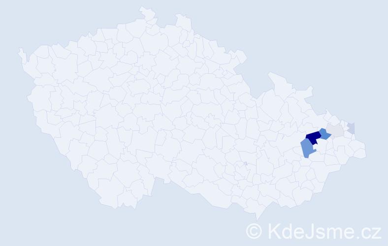 Příjmení: 'Bukovčáková', počet výskytů 9 v celé ČR