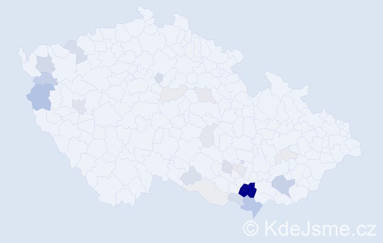 Příjmení: 'Hicl', počet výskytů 73 v celé ČR